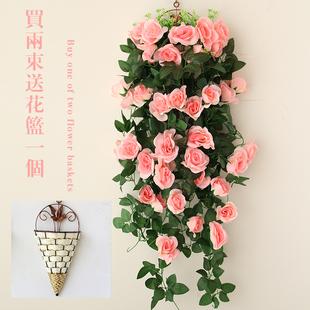 仿真玫瑰壁挂花吊兰花 客厅装饰花吊篮花卉 假花挂壁吊顶装饰