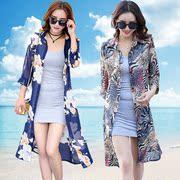 夏季户外风衣印花雪纺衫中长款防晒衫披风女纱衣外套开衫外搭长衫