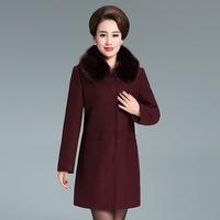 特价清仓 大码中老年女装羊毛呢大衣 中年女毛呢外套中长款妈妈装