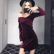 秋冬季V领露肩性感连衣裙女装夜店金丝绒包臀裙气质打底短裙