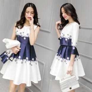 2016秋季新款韩版时尚套装两件套连衣裙显瘦印花背心裙A字套装裙