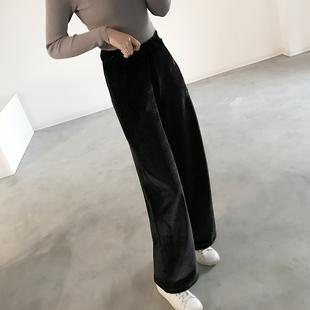 丝绒阔腿裤女式秋冬韩国宽松长裤子裤显瘦高腰裤运动裤直筒裤