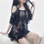 性感女装纯色钩花镂空短袖蕾丝衫女夏装中长款宽松显瘦打底衫上衣