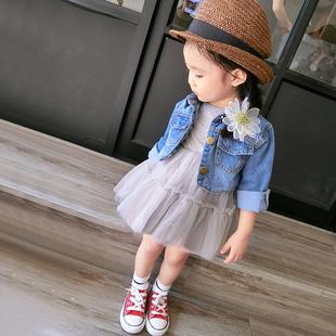女童秋装套装2018新潮T恤连衣裙外搭夹克牛仔外套两件套