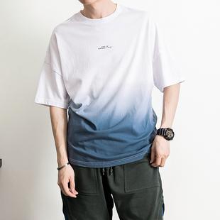 写意夏季日系复古文艺吊染渐变色T恤衫男装半袖五分袖宽松棉t