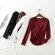 欧美秋季V领铆钉扣长袖t恤短款螺纹棉打底衫紧身高腰上衣女
