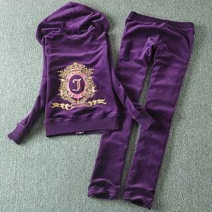 女士长袖天鹅绒运动套装女款春天运动服套装秋彩钻卫衣潮