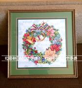 法国DMC十字绣套件美丽花环之圣诞红花草系列客厅精准印花6109