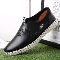 真皮时尚韩版男鞋英伦潮鞋男士休闲鞋套脚懒人鞋板鞋透气低帮鞋子