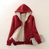 秋冬款加绒加厚卫衣羊羔绒拉链开衫女大码连帽保暖运动服外套