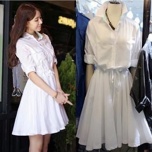 欧洲站2019春装女装超仙连衣裙白色衬衫裙收腰系带中长款女潮