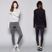韩国秋冬季保暖服运动跑步套装紧身裙裤卫衣显瘦两件套女