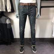 克雷格JJ男装品牌秋款深蓝无弹牛仔裤男青年小直筒牛仔裤长裤