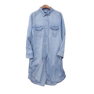 H家欧美风宽松大码中长款天丝牛仔衬衫女款七分袖侧口袋外套