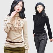 高领打底衫女秋冬学生大码蕾丝中长款加绒加厚长袖t恤棉