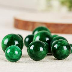 缅甸A货翡翠散珠干青铁龙生项链圆珠祖母绿手串链配件DIY玉珠子