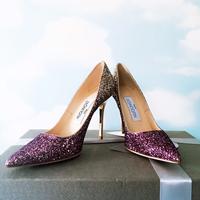 采宁欧洲站JC紫色亮片渐变高跟鞋 婚鞋 婚纱真皮浅口尖头单鞋女