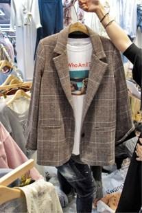 2019春装时尚格子翻领系扣小西装一粒扣外套女OL百搭西服