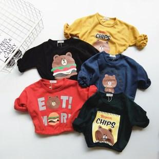 韩版儿童卫衣男女童布朗熊卡通打底衫小童宝宝百搭长袖上衣