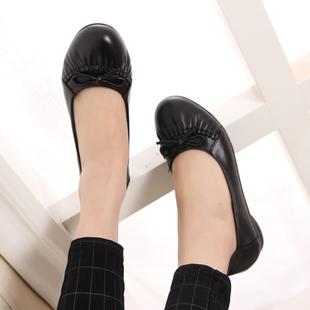 春季真皮单鞋妈妈鞋中老年平跟女鞋休闲防滑女式皮鞋圆头中年鞋子