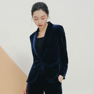 2018秋季金丝绒女装高端欧美丝绒西装女外套OL职业小西服上衣