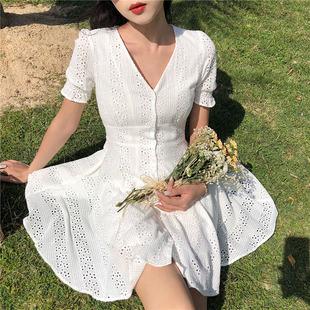 chic复古港味时尚V领单排扣短袖初恋裙白色公主裙连衣裙女潮