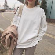 女装春秋打底衫宽松学生长袖纯色体恤上衣原宿百搭纯白棉t恤