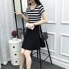 2019夏装连衣裙黑白条纹中长款短袖显瘦女装百搭裙子