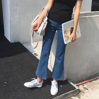 韩国高腰弹力九分微喇叭牛仔裤女 韩版修身显瘦九分裤牛仔喇叭裤