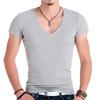 紧身T恤男短袖深大V领健身上衣型男装体恤衫高弹力莱卡棉