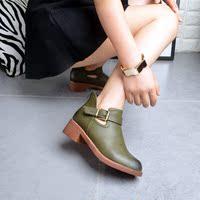 2016秋冬新款诺曼迪613-6欧美时尚搭扣英伦风圆头百搭舒适女鞋