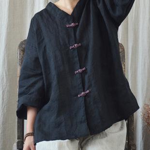 中式民国风原创苎麻文艺复古盘扣棉麻衬衫女9分袖春夏宽松上衣女