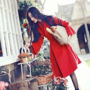 2017冬欧美英伦气质红色喇叭袖羊毛呢高腰中长款羊绒外套女大衣
