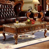 欧式茶几简约实木大理石茶几客厅组合美式雕花家具新古典橡木矮桌