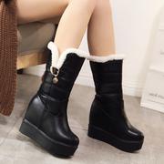雪地靴女2017冬季女鞋真皮厚底坡跟超高跟半桶中筒保暖棉靴小码34