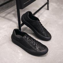 四季款潮男士低帮真皮男鞋增高鞋男厚底板鞋日系细带运动鞋男