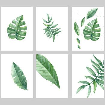 现代简约水彩植物叶子画芯北欧小清新装饰画油画布喷绘打印画心图片