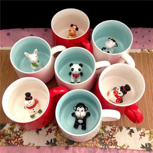 陶瓷3D杯中动物杯可爱小兔小熊猫水杯圣诞老人企鹅雪人咖啡杯
