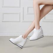 真皮小白鞋隐形内增高女鞋10cm坡跟单鞋2018秋季女士皮鞋