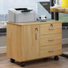 木质办公文件柜子资料柜桌下移动矮柜带锁三抽屉储物柜小推柜