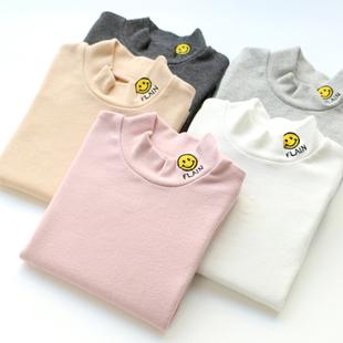 男女童纯棉半高领中领打底衫 春秋款宝宝中小儿童装圆领薄长袖T恤