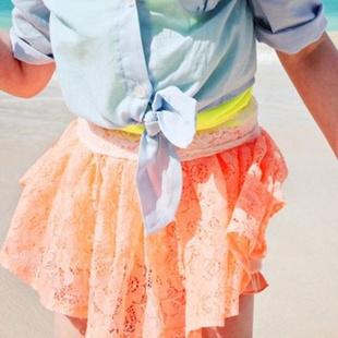 韩国童装女童2014夏装 淑女风镂空蕾丝纱儿童短裙半身裙裤