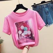 粉红色t恤女短袖2018夏装宽松纯棉百搭学生半袖体恤上衣