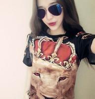 夏季 泰国潮牌狮子头 红眼狮头 情侣短袖男女T恤 男女装上衣T恤女