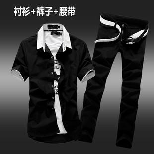 夏季男士短袖衬衫牛仔一套装男潮流半袖衬衣服男