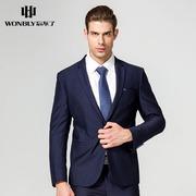 忘不了男装时尚商务绅士正装西服套装版蓝色帅气新郎服伴郎服