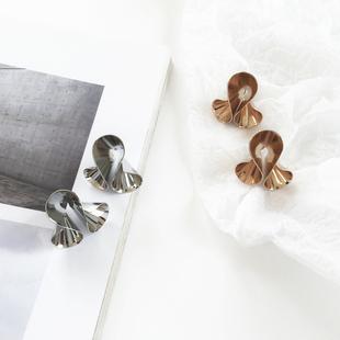 欧美大气时尚金属个性百搭手工创意设计折叠气质女耳钉耳坠耳环