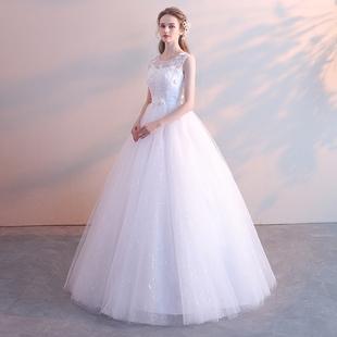 婚纱礼服2019新娘结婚齐地公主简约孕妇高腰大码显瘦