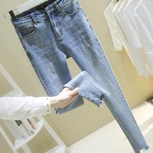 2019春季港味浅蓝色破洞牛仔裤女弹力紧身九分小脚铅笔裤B141