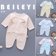 新生婴儿衣服秋冬0-3纯棉保暖连体衣宝宝和尚服蝴蝶哈衣婴儿冬装